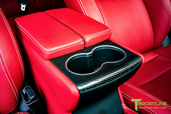 Project SuperAmerica - Tesla Model S P100D - Custom Bentley Red Interior - Carbon Fiber Dash Kit - Dashboard - Seatbacks - Steering Wheel by T Sportline 11