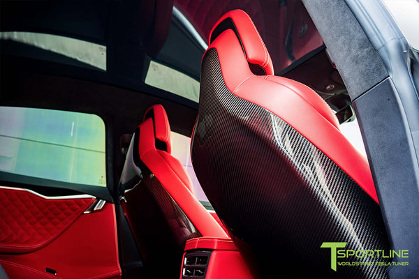 Project SuperAmerica - Tesla Model S P100D - Custom Bentley Red Interior - Carbon Fiber Dash Kit - Dashboard - Seatbacks - Steering Wheel by T Sportline 7