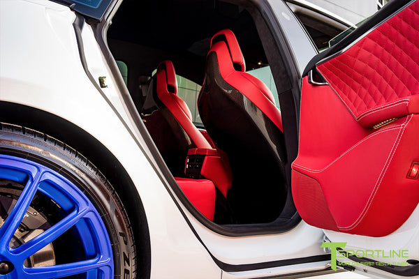 Project SuperAmerica - Tesla Model S P100D - Custom Bentley Red Interior - Carbon Fiber Dash Kit - Dashboard - Seatbacks - Steering Wheel by T Sportline 8