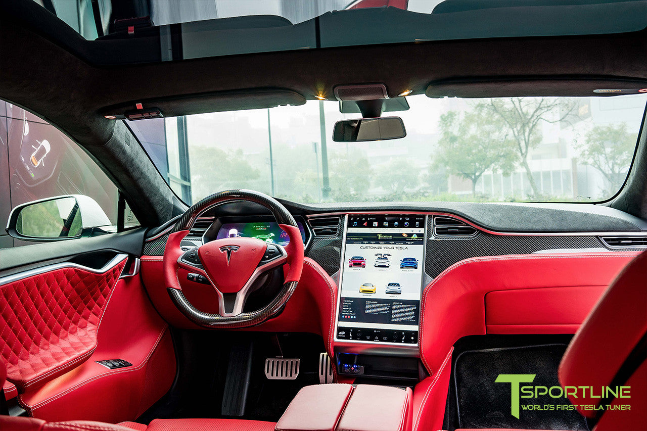 Project SuperAmerica - Tesla Model S P100D - Custom Bentley Red Interior - Carbon Fiber Dash Kit - Dashboard - Seatbacks - Steering Wheel by T Sportline 17