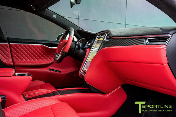Project SuperAmerica - Tesla Model S P100D - Custom Bentley Red Interior - Carbon Fiber Dash Kit - Dashboard - Seatbacks - Steering Wheel by T Sportline 15