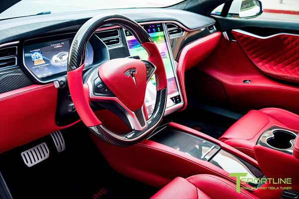 Model S with Gloss Tesla Carbon Fiber Center Console Flip Door and Sliding Tray Panel Set 1