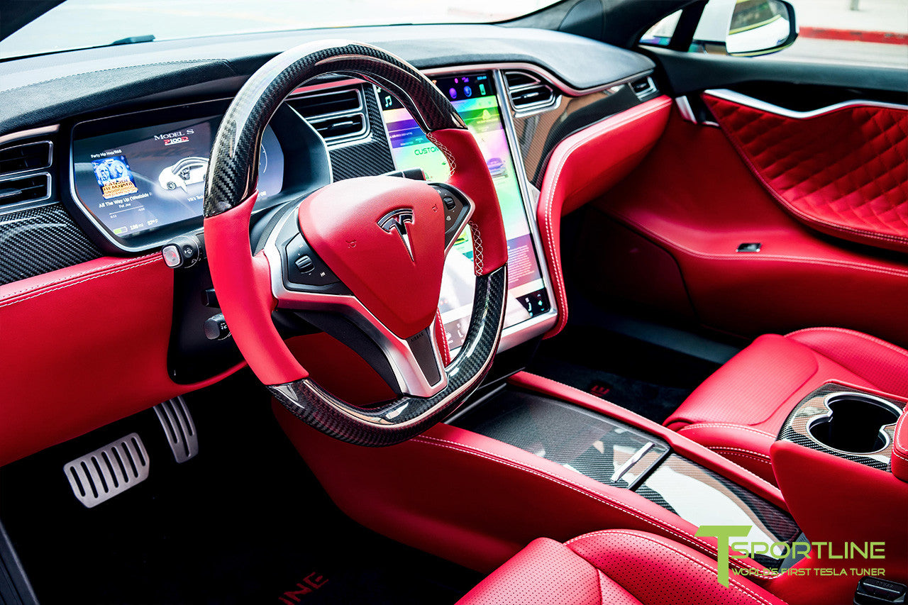 Project SuperAmerica - Tesla Model S P100D - Custom Bentley Red Interior - Carbon Fiber Dash Kit - Dashboard - Seatbacks - Steering Wheel by T Sportline 16
