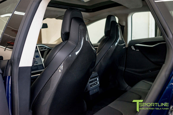 Tesla Model S v2.0 Carbon Fiber Seatback in Gloss Finish 1