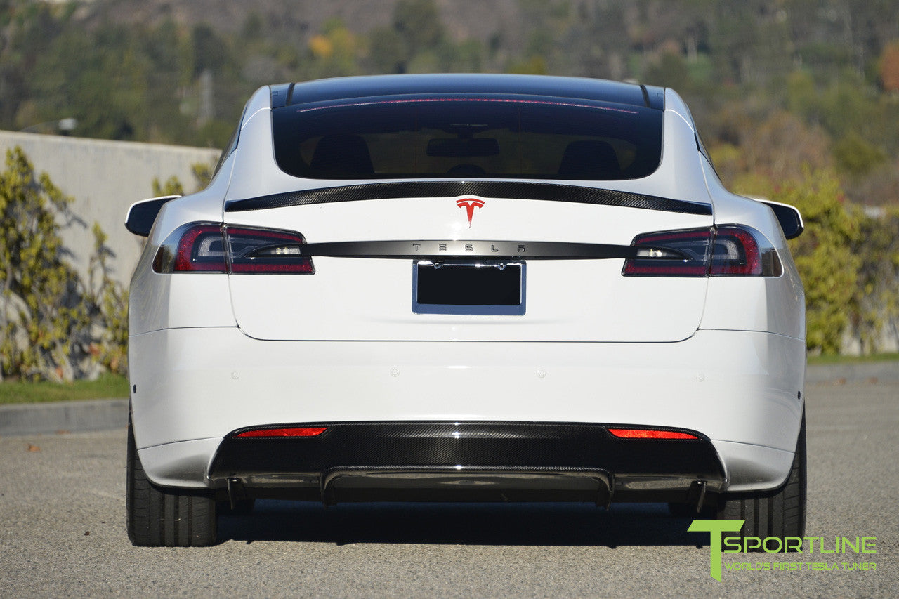White Tesla Model S with Carbon Fiber Trunk Wing Spoiler 1