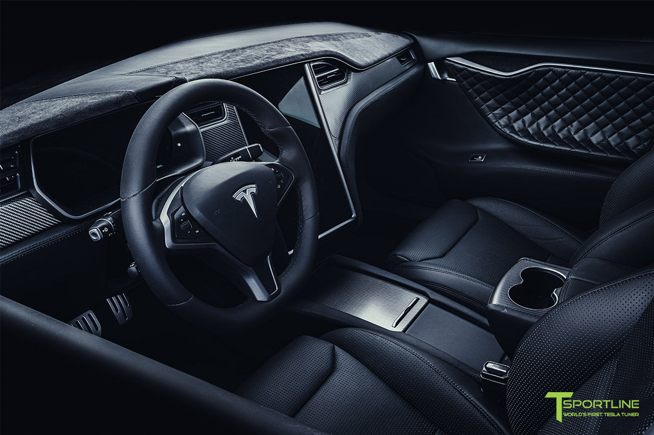 Project Bellevue - Xpel Stealth Black Tesla Model S Performance with Matte Black 21 inch TS115 Forged Tesla Aftermarket Wheels, Satin Black Chrome Delete, and Custom Reupholstered Interior in Ferrari Black Leather by T Sportline 17