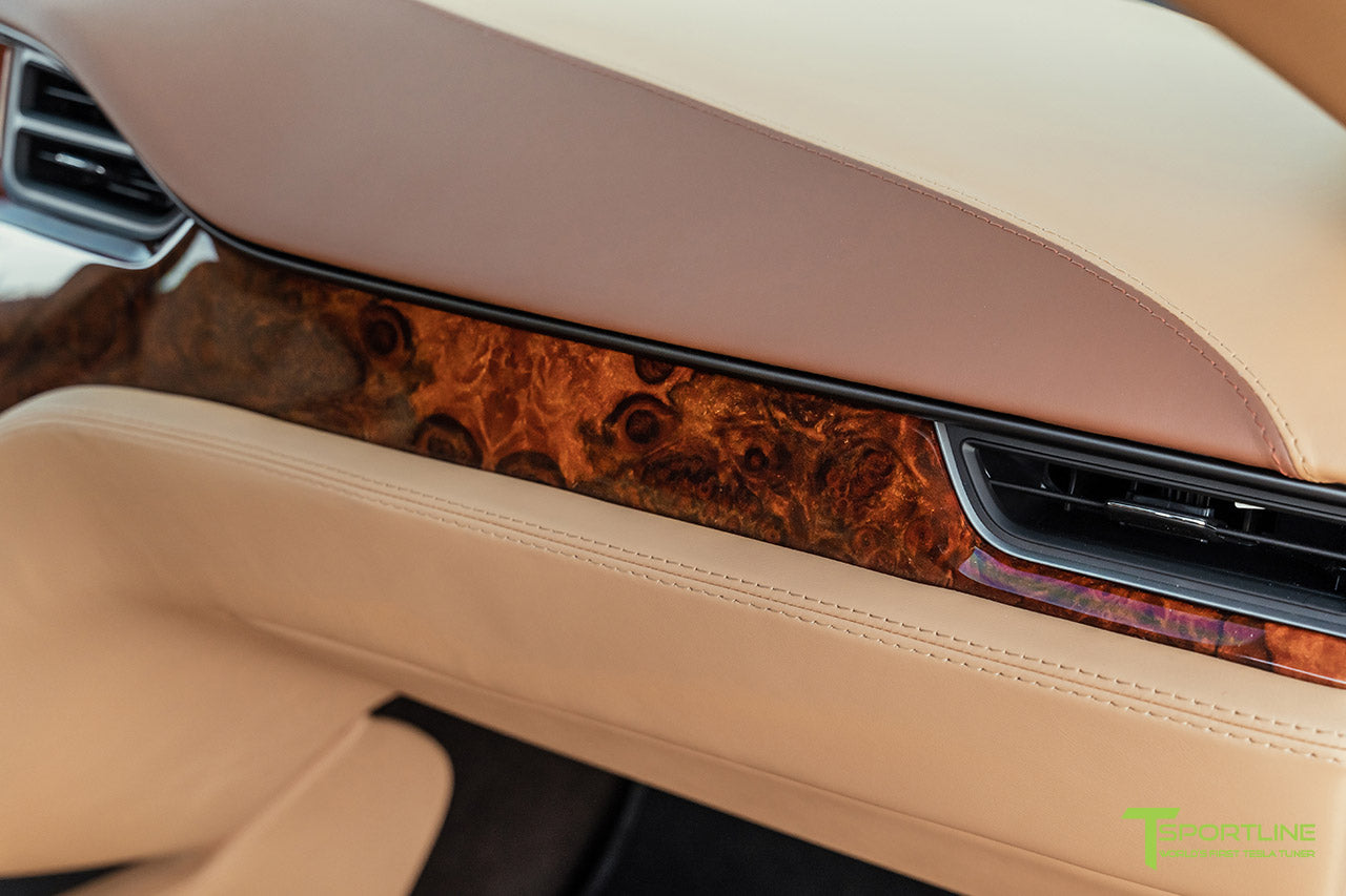 Tesla Model S Custom Ferrari Saddle and Bentley Saddle Interior with Gloss Burl Wood Trim by T Sportline