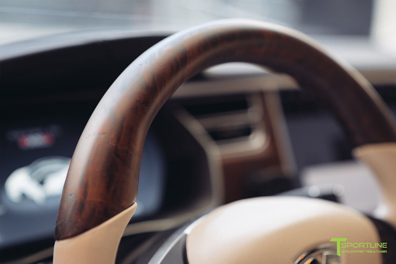 Tesla Model S in Beige Tan Cream Interior with Figured Ash Wood Steering Wheel by T Sportline 1