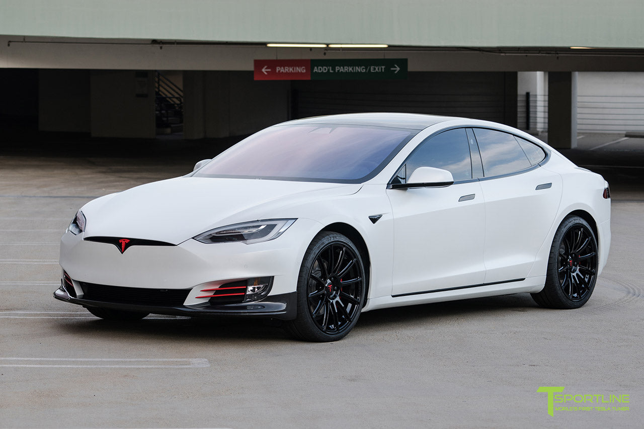 "Tesla Model S XPEL Paint Protection, Chrome Delete, Window Tint with Carbon Fiber Front Apron, Trunk Wing, Diffuser, Gloss Black TS112 21"" Forged Wheels"