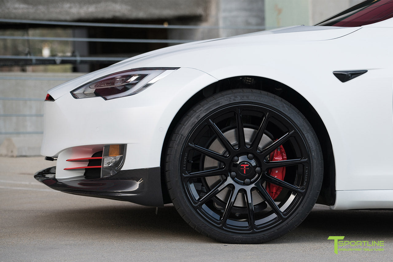XPEL Stealth Pearl White Tesla Model S 2.0 (2016 Facelift) with Carbon Fiber Front Apron by T Sportline 2