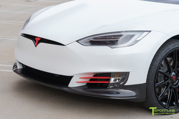 XPEL Stealth Pearl White Tesla Model S 2.0 (2016 Facelift) with Carbon Fiber Front Apron by T Sportline 1