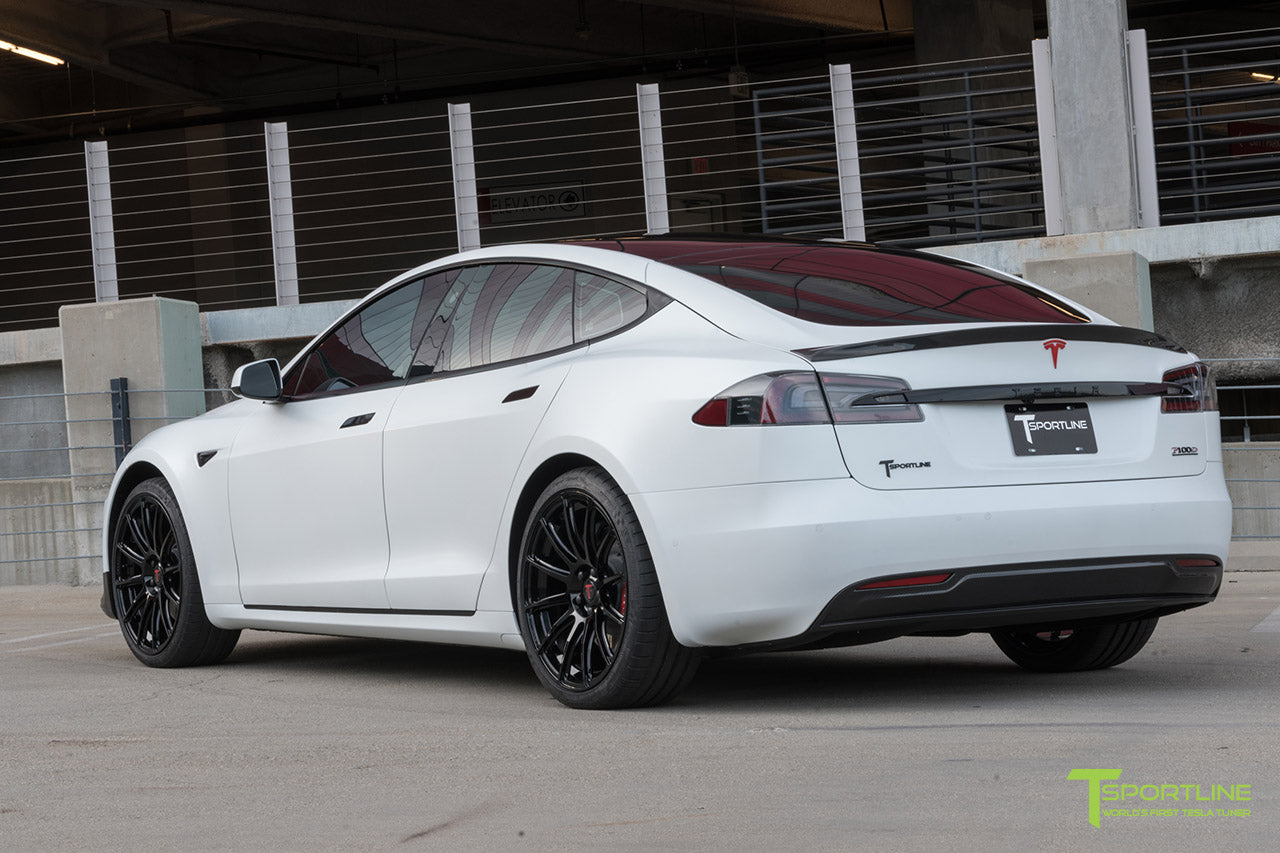 XPEL Stealth Pearl White Tesla Model S 2.0 (2016 Facelift) with Carbon Fiber Front Apron, Rear Diffuser, and Trunk Wing by T Sportline