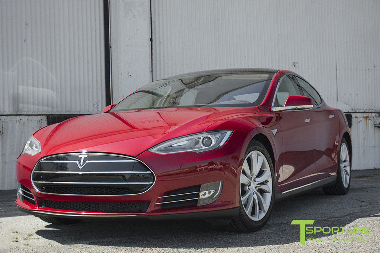 Red Multi-Coat Tesla Model S 1.0 with Nosecone Grille