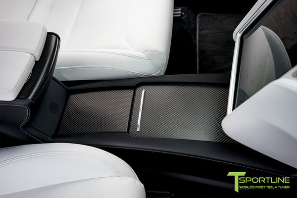 Model X with Matte Tesla Carbon Fiber Center Console Flip Door and Sliding Tray Panel Set 2