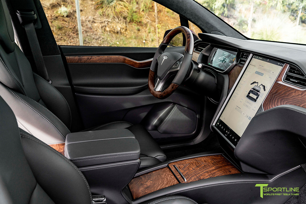 Satin Black Tesla Model X with Figured Ash Wood Steering Wheel and Center Console Flip Door in Black Interior by T Sportline 2