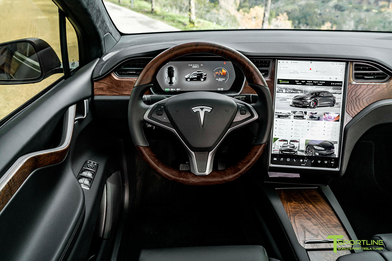 Satin Black Tesla Model X with Figured Ash Wood Steering Wheel and Center Console Flip Door in Black Interior by T Sportline 6