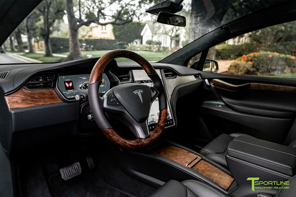 Satin Black Tesla Model X with Figured Ash Wood Steering Wheel and Center Console Flip Door in Black Interior by T Sportline 5