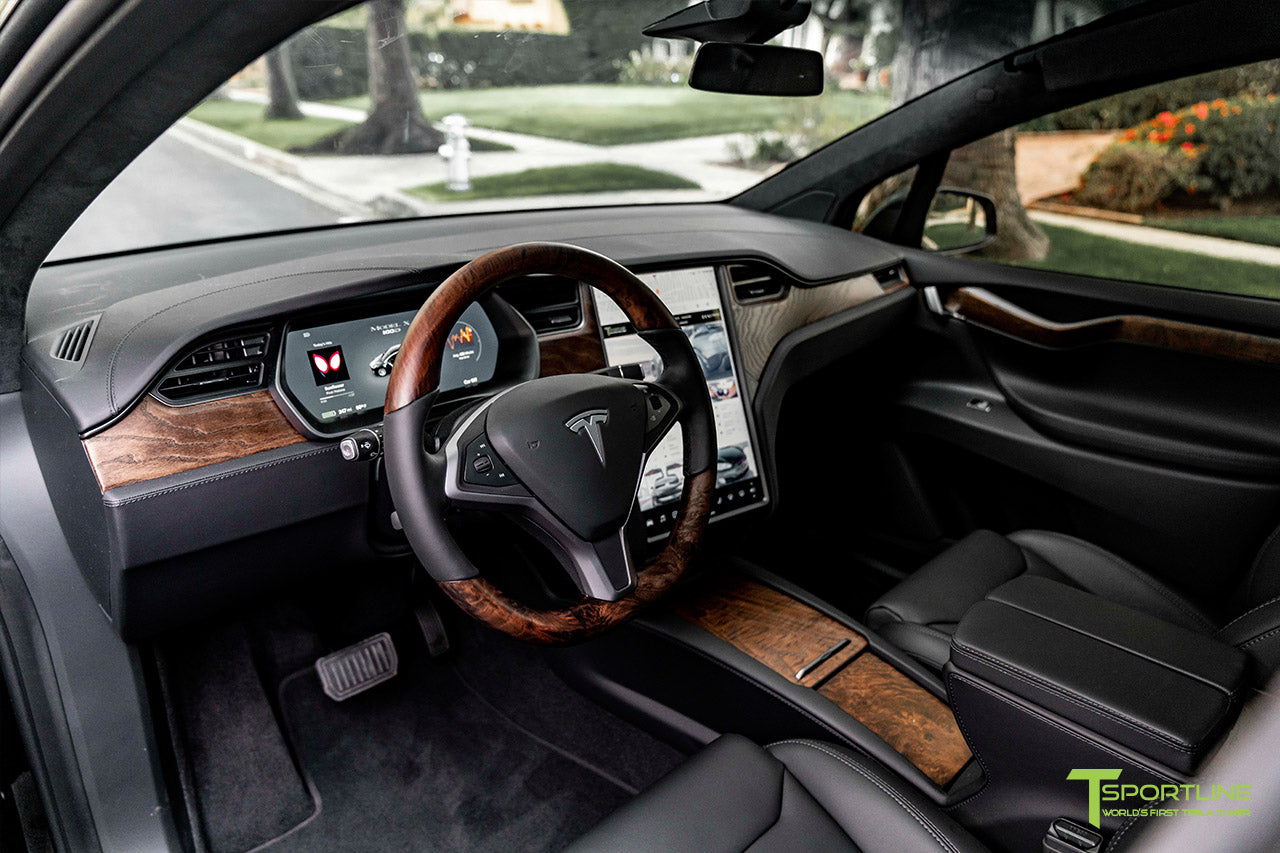 Tesla Model X with Figured Ash Wood Steering Wheel and Center Console Flip Door in Black Interior by T Sportline