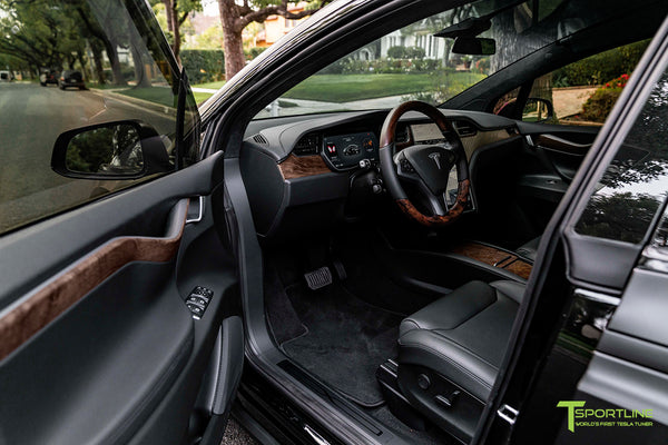 Satin Black Tesla Model X with Figured Ash Wood Steering Wheel and Center Console Flip Door in Black Interior by T Sportline 3