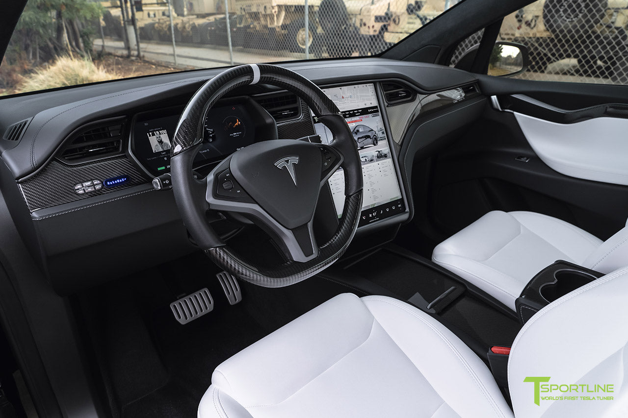 Tesla Model X Interior Trim and Steering Wheel in Gloss Carbon Fiber