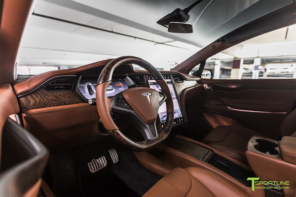 Midnight Silver Metallic Tesla Model X with Matte Gray MX115 22 inch Forged Wheels, Xpel Stealth, Digital License Plate, Custom Cognac Full Interior Reupholstery, and Figured Ash Wood Steering Wheel by T Sportline 17