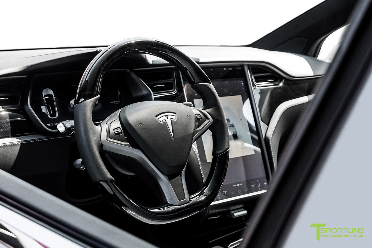 Tesla Model X with Tesla Dark Ash Wood Steering Wheel by T Sportline 1