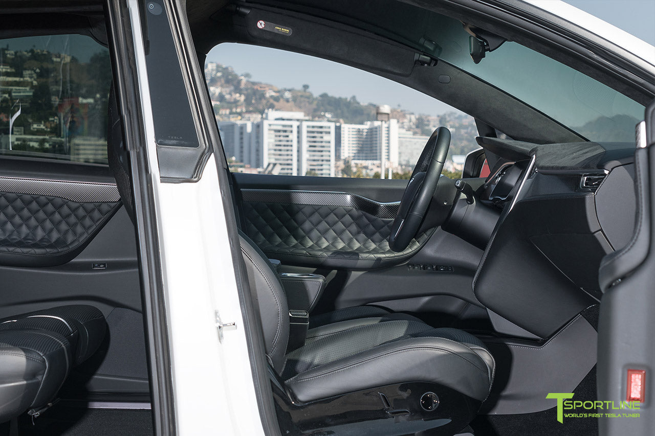 Pearl White Tesla Model X P100D Five-Seat Configuration with Full Reupholstered Custom Interior in Ferrari Black Leather with Matte Carbon Fiber Trim, Factory Trim & Seatbacks, Signature Diamond Quilt, and Perforation by T Sportline 6