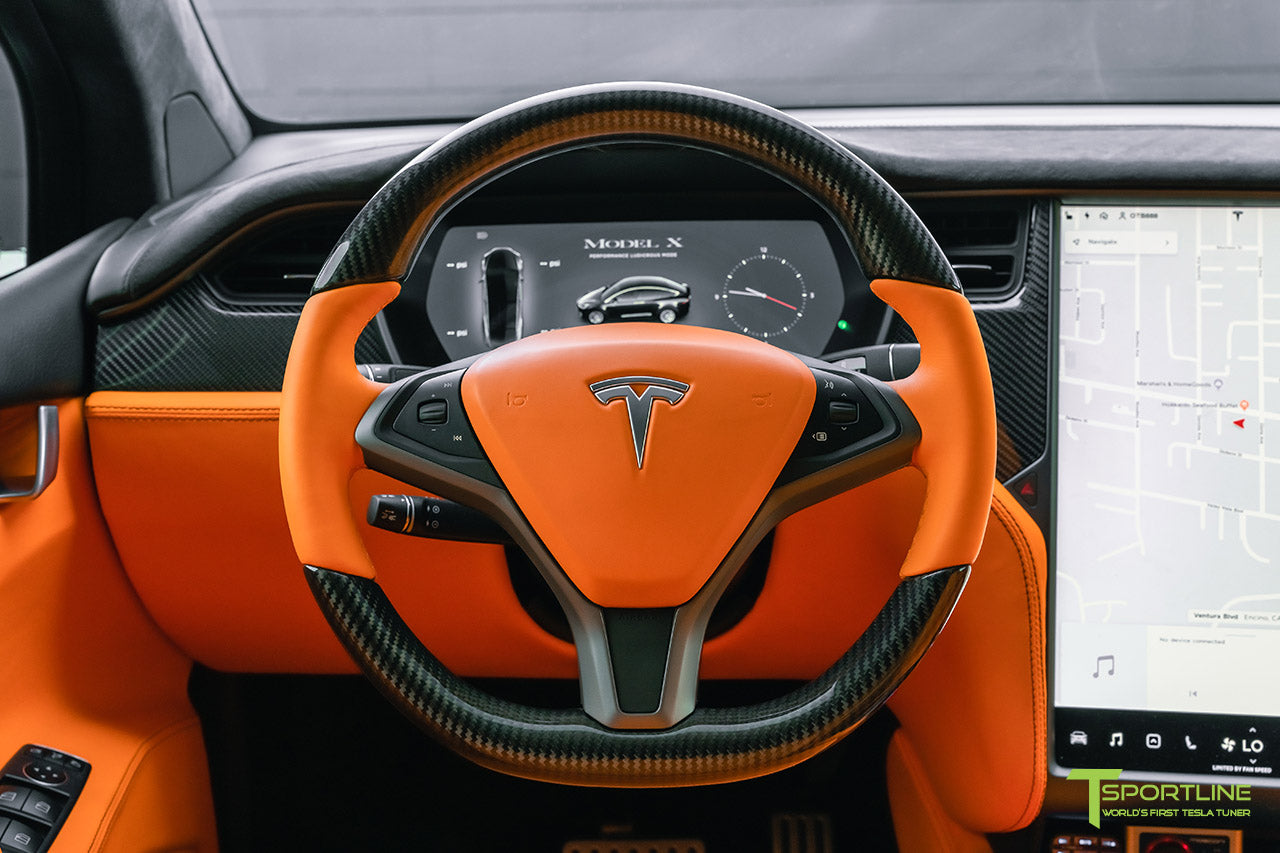 Tesla Model X Custom Lamborghini Orange Leather Interior with Gloss Carbon Fiber Steering Wheel and Trim by T Sportline