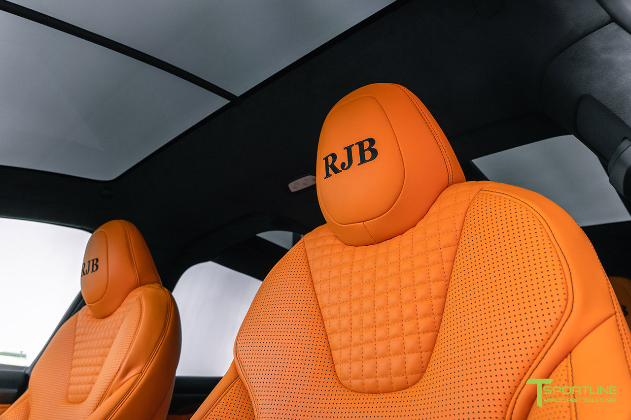 Tesla Model X Custom Lamborghini Orange Leather Interior by T Sportline