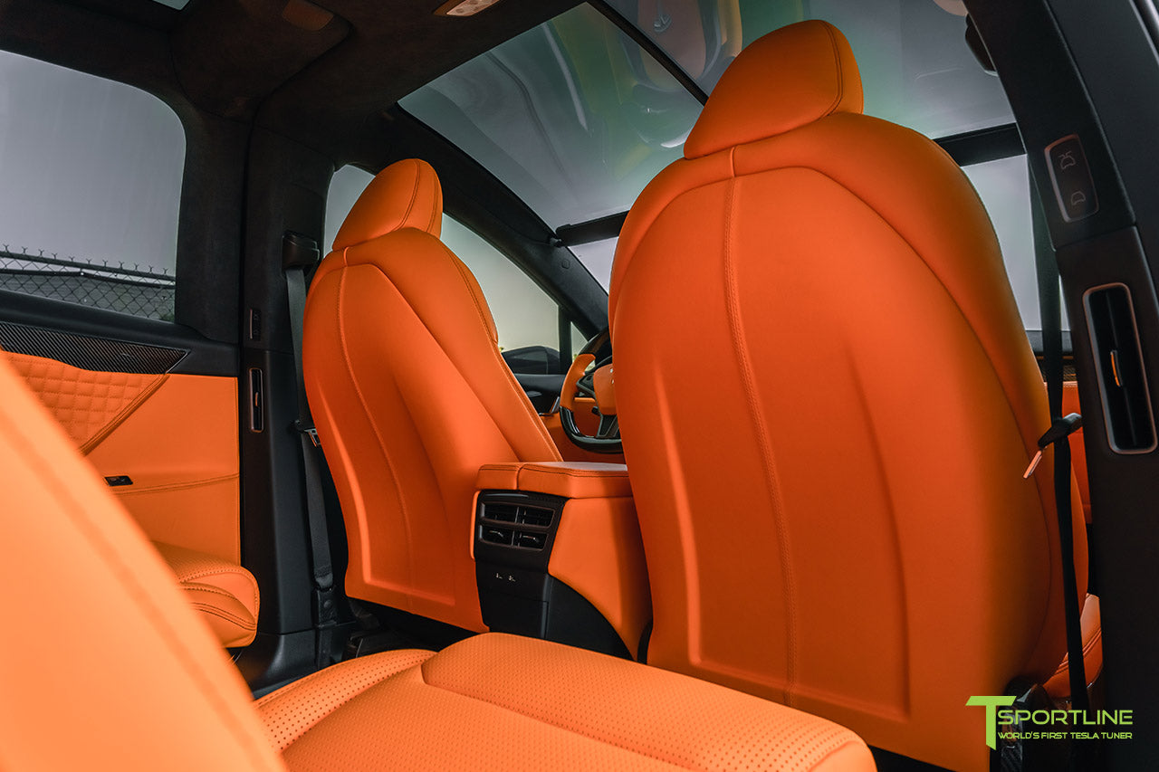 Tesla Model X Custom Lamborghini Orange Leather Interior with Reupholstered Seatback by T Sportline