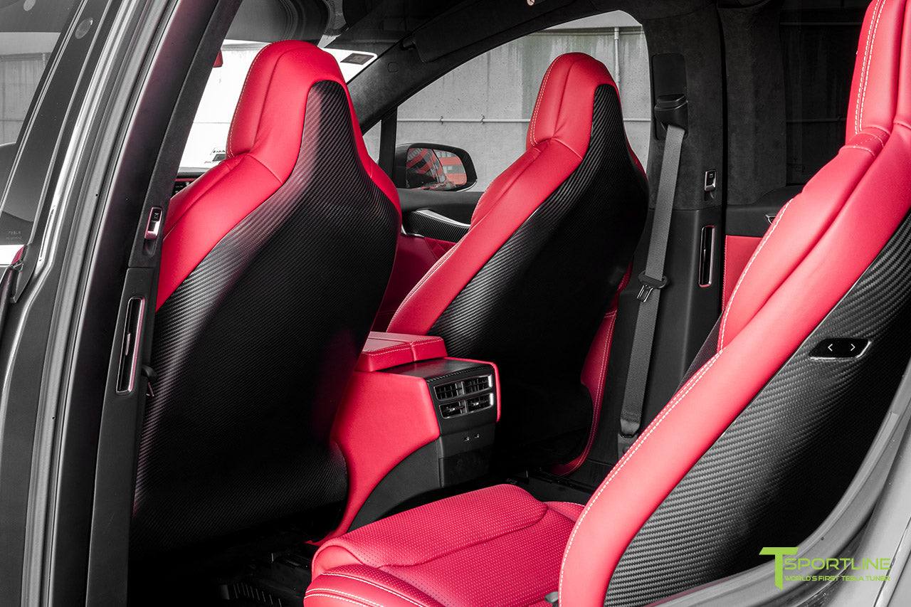 Project Little Dragon - Custom Bentley Red Leather Interior, Matte Carbon Fiber Seatback, and Matte Carbon Fiber Steering Wheel by T Sportline 6