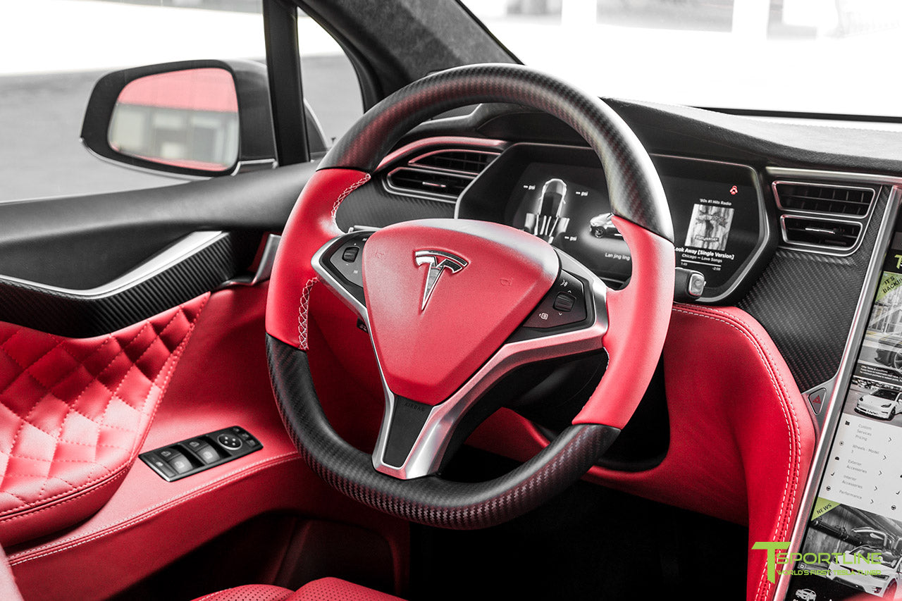 Project Little Dragon - Deep Blue Metallic Tesla Model X with Satin Black Full Body Warp, Custom Bentley Red Leather Interior, Matte Carbon Fiber Seatback, and Matte Carbon Fiber Steering Wheel by T Sportline 9