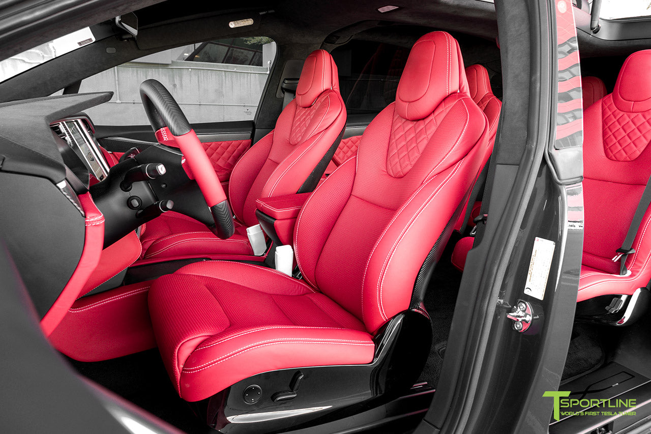 Project Little Dragon - Custom Bentley Red Leather Interior, Matte Carbon Fiber Seatback, and Matte Carbon Fiber Steering Wheel by T Sportline 11