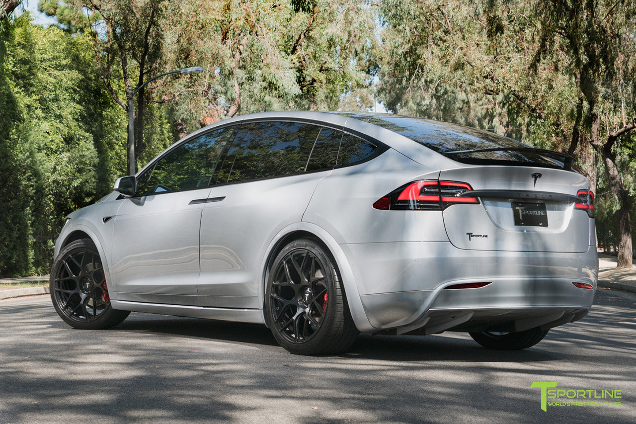 Silver 2016 Tesla Model X P90D Ludicrous - White Interior - 22 inch MX117 Forged Wheels Matte Black by T Sportline