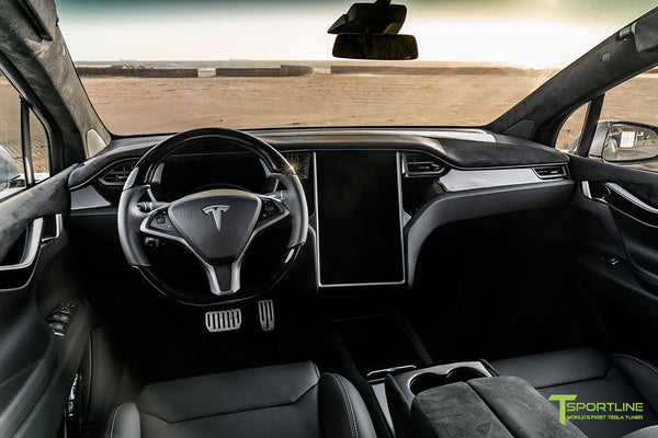 Tesla Model X with T Largo Carbon Fiber Wide Body Kit/Package Partial Reupholstered Custom Factory Interior with Black Suede Unisuede and Dark Ash Wood Trim & Steering Wheel by T Sportline 11