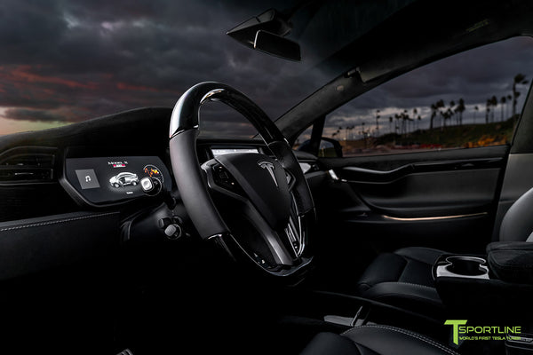 Tesla Model X with T Largo Carbon Fiber Wide Body Kit/Package Partial Reupholstered Custom Factory Interior with Black Suede Unisuede and Dark Ash Wood Trim & Steering Wheel by T Sportline 10