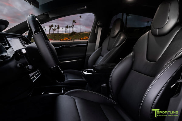 Tesla Model X with T Largo Carbon Fiber Wide Body Kit/Package Partial Reupholstered Custom Factory Interior with Black Suede Unisuede and Dark Ash Wood Trim & Steering Wheel by T Sportline 9