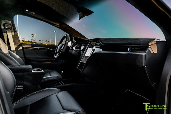 Tesla Model X with T Largo Carbon Fiber Wide Body Kit/Package Partial Reupholstered Custom Factory Interior with Black Suede Unisuede and Dark Ash Wood Trim & Steering Wheel by T Sportline 8