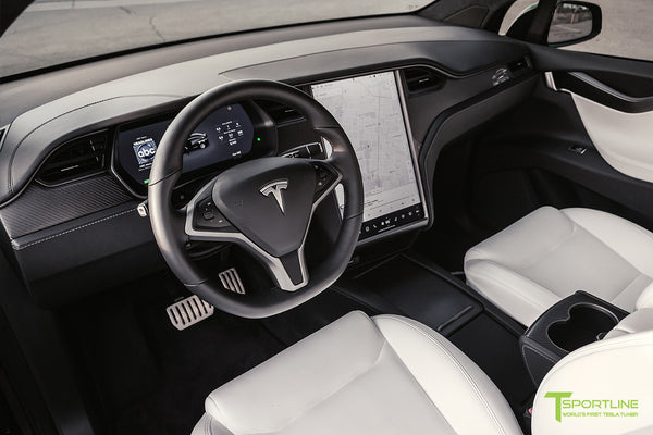 Black Tesla Model X T Largo Carbon Fiber Wide Body Package Premium White Interior by T Sportline
