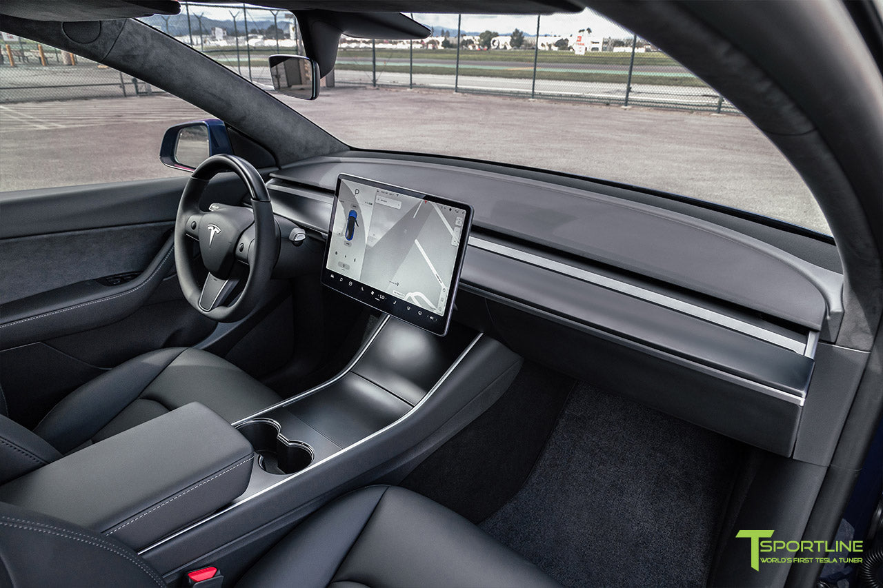 Tesla Model Y with Satin Black Dashboard and Steering Wheel by T Sportline