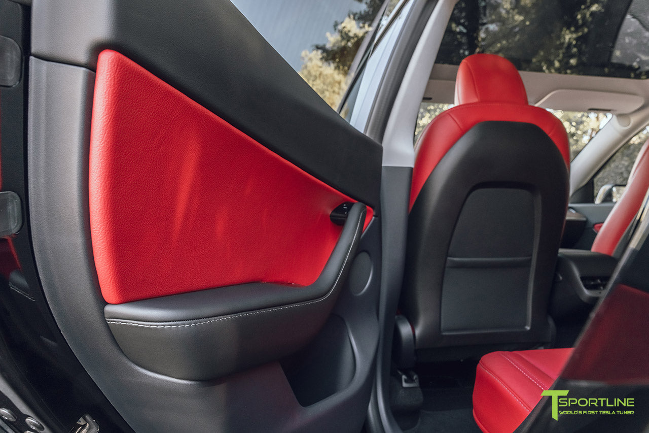Tesla Model Y Reupholstered Custom Red Leather Interior with Red Leather Door Inserts by T Sportline