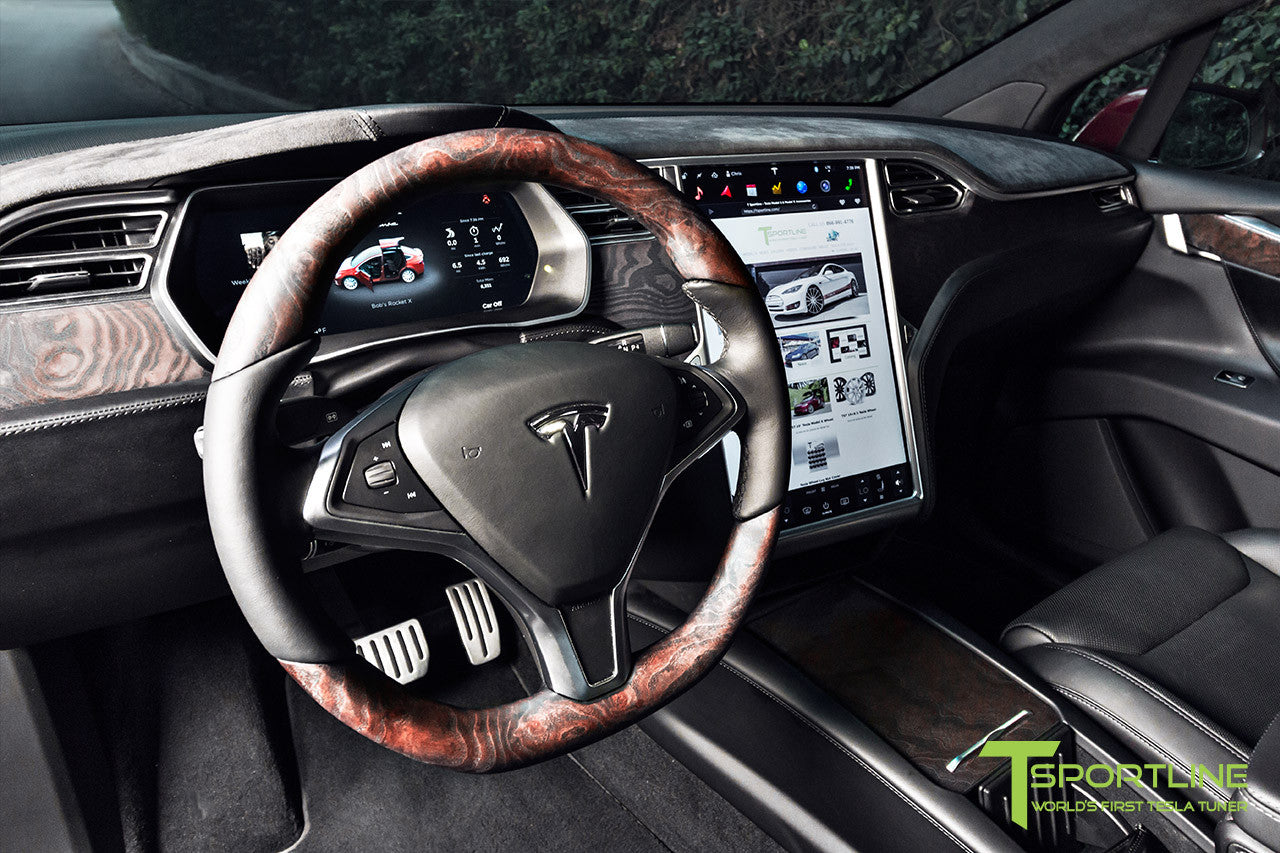 Project Sig Red - 2016 Tesla Model X P90D Ludicrous - Black Interior - Figured Ash Steering Wheel