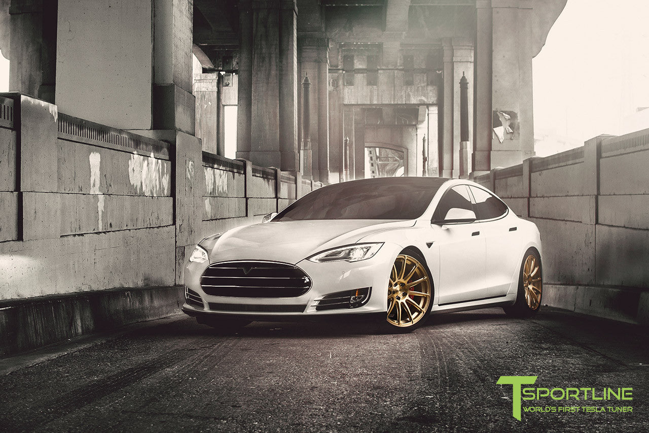 White Tesla Model S 1.0 with Ghost Gold 21 inch TS112 Forged Wheels 1