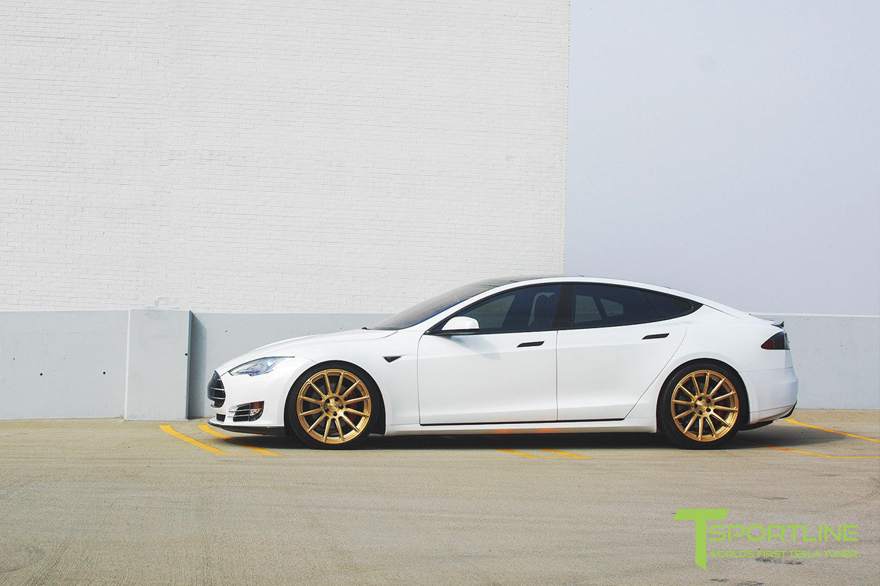 White Tesla Model S 1.0 with Ghost Gold 21 inch TS112 Forged Wheels