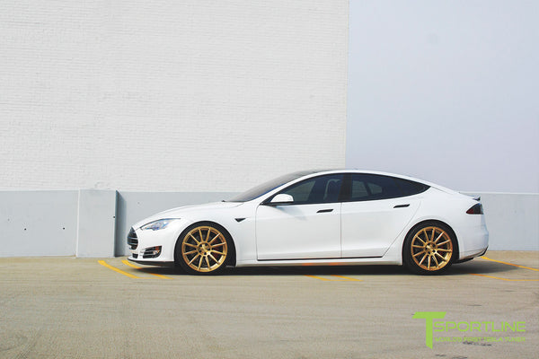 White Tesla Model S 1.0 with Ghost Gold 21 inch TS112 Forged Wheels 2