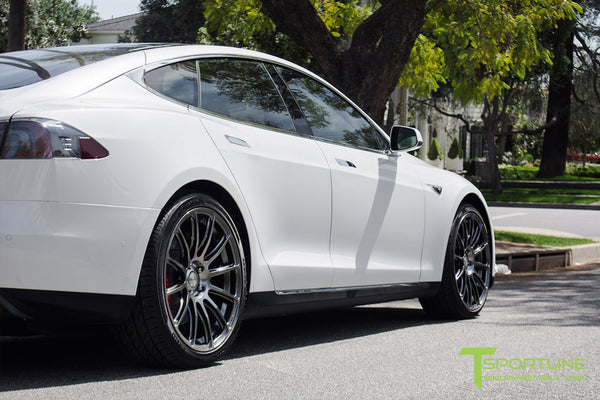 White Tesla Model S 1.0 with Hyper Black 21 inch TS112 Forged Wheels 3