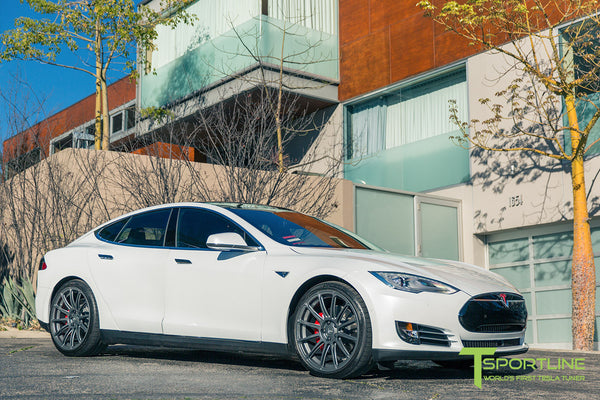 White Tesla Model S 1.0 with Matte Grey 21 inch TS112 Forged Wheels 1