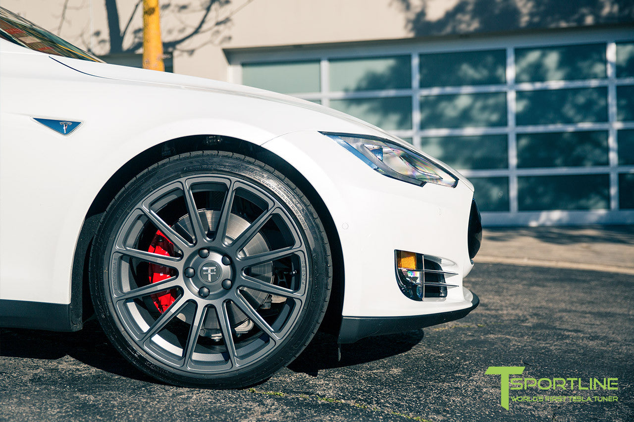 White Tesla Model S 1.0 with Matte Grey 21 inch TS112 Forged Wheels 2