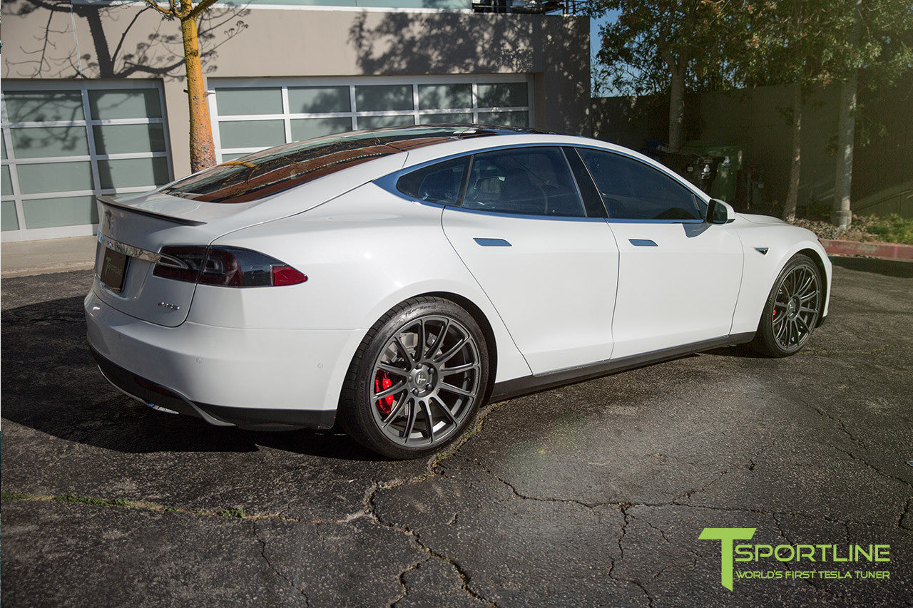 White Tesla Model S 1.0 with Matte Grey 21 inch TS112 Forged Wheels