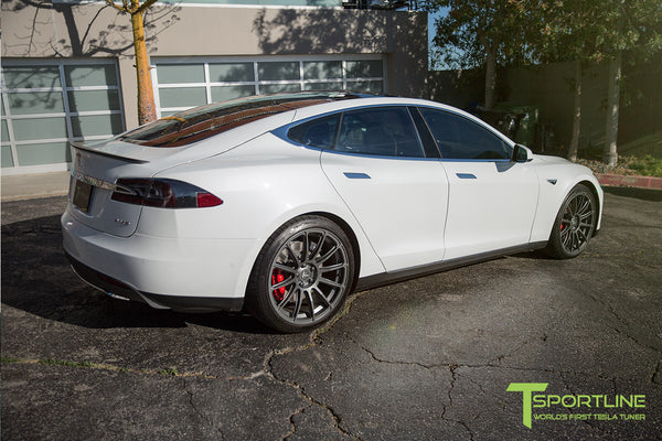 White Tesla Model S 1.0 with Matte Grey 21 inch TS112 Forged Wheels 3